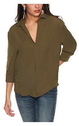 HYFVE Women's Olive V-Neck 3/4 Sleeve Top