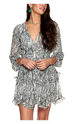 HYFVE Women's Black and White Snake Print Tie Waist Long Ruffle Sleeve Dress