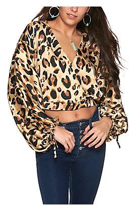 HYFVE Women's Brown Leopard Print Surplice Long Balloon Sleeves Cropped Fashion Top