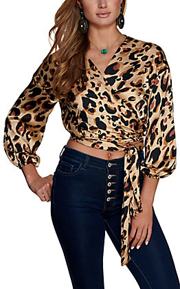 HYFVE Women's Brown Leopard Print Wrap Front Long Sleeves Top