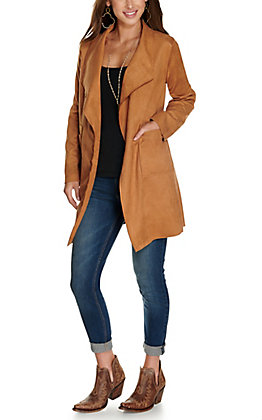 HYFVE Women's Camel Faux Suede Long Sleeve Jacket