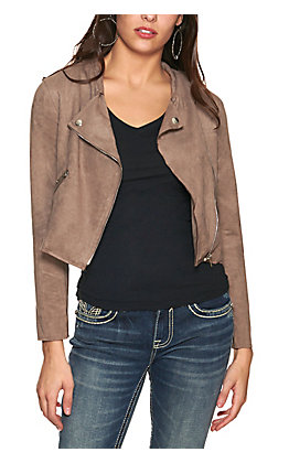 HYVFE Women's Mushroom Faux Suede Long Sleeve Moto Jacket