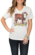 XOXO Art & Co. Ivory Flower Child Hereford Cow Graphic S/S Casual Knit Tee