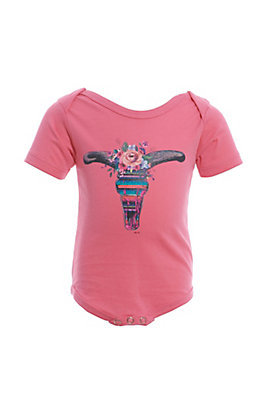 Lucky & Blessed Infants Pink Floral Steerhead Onesie