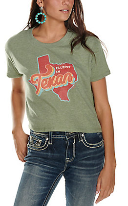 Ranch Swag Women's Olive Fluent in Texan Graphic Cropped Short Sleeve Tee