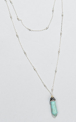 Laminin Fortitude Double Layer Silver Chain Pyrite Stone Necklace