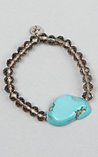 Laminin Fortunate Smoky Glass Rondelle Beaded and Turquoise Stone Bracelet