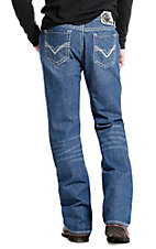 Rock & Roll Cowboy Men's Denim Medium Wash Relaxed Straight Leg Double Barrel Flame Resistant Jeans