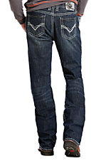 Rock & Roll Cowboy Men's Denim Dark Wash Relaxed Straight Leg Double Barrel Relaxed Fit Flame Resistant Jeans.