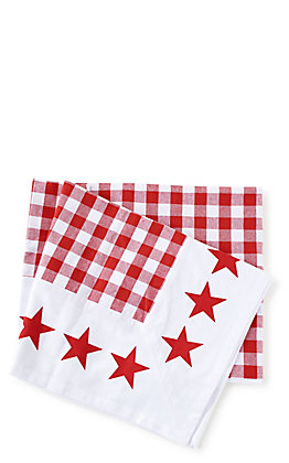One Hundred 80 Degrees Gingham Star Border Red and White Picnic Tablecloth