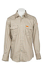 Wrangler Mens Flame Resistant Khaki Plaid Light Weight Tall Workshirt