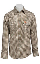 Wrangler Mens Flame Resistant Khaki Plaid Light Weight Workshirt