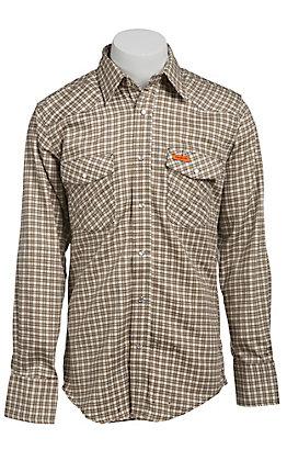 Wrangler Mens Flame Resistant Khaki Plaid Light Weight Workshirt