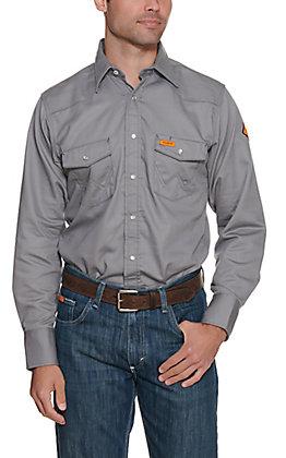 Wrangler Men's Flame Resistant Grey Tall Workshirt