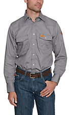 Wrangler Mens Flame Resistant Grey Workshirt
