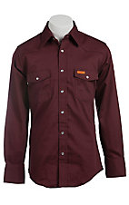 Wrangler Mens Flame Resistant Burgundy Light Weight Workshirt