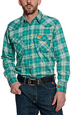 Wrangler 20X Mens Plaid Woven Green HRC2 FR Light Weight Workshirt FR134GN