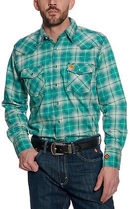 Wrangler 20X Men's Plaid Woven Green HRC2 FR Light Weight Workshirt FR134GN
