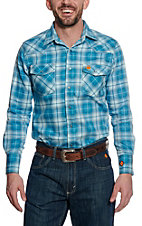 Wrangler 20X Mens Teal Plaid Woven HRC2 FR Light Weight Workshirt FR136TL