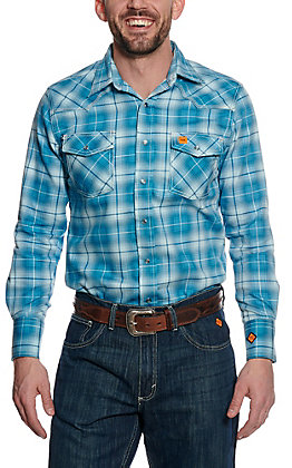 Wrangler 20X Men's Teal Plaid Woven HRC2 FR Light Weight Workshirt FR136TL