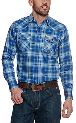 Wrangler 20X Men's Blue Plaid Woven HRC2 FR Light Weight Work Shirt