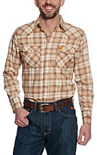 Wrangler 20X Mens Khaki Plaid Woven HRC2 FR Light Weight Workshirt FR138KH