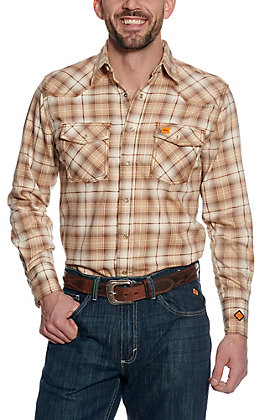 Wrangler 20X Men's Khaki Plaid Woven HRC2 FR Light Weight Work Shirt