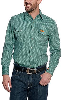e110471c0c45 Wrangler Men s Flame Resistant HRC2 Green Print Western Snap Shirt