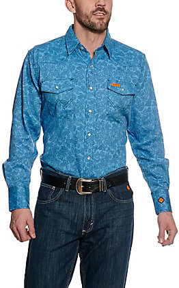 01b024c2ce Wrangler Men s Flame Resistant HRC2 Turquoise Print Western Snap Shirt