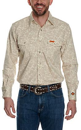 Wrangler Men's Flame Resistant HRC2 Tan Paisley Print Western Snap Shirt