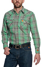 Wrangler 20X Mens Green Plaid Woven HRC2 FR Light Weight Work Shirt