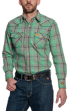Wrangler 20X Men's Green Plaid Woven HRC2 FR Light Weight Work Shirt