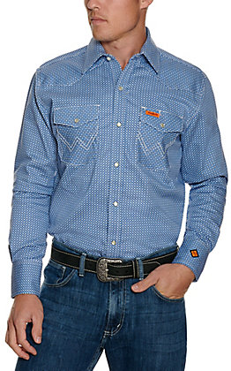 Wrangler Men's Blue Geo Print Flame Resistant Long Sleeve Work Shirt - Cavender's Exclusive