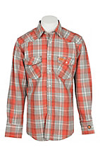 Wrangler Men's Flame Resistant Orange Plaid Light Weight Work Shirt