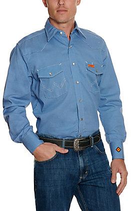 Wrangler Men's Blue Dot Flame Resistant Long Sleeve Work Shirt - Cavender's Exclusive