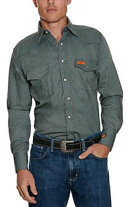 Wrangler Men's Black Geo Print Flame Resistant Long Sleeve Work Shirt - Cavender's Exclusive
