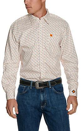 Wrangler Men's 20X White Medallion Flame Resistant Work Shirt - Cavender's Exclusive