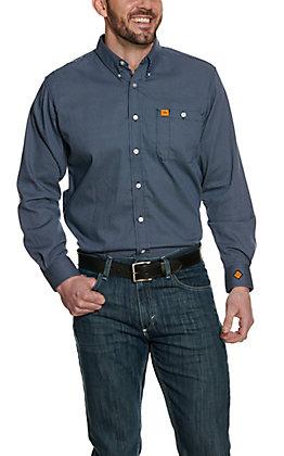 Wrangler Men's FR Blue Polka Dot Long Sleeve Western Shirt