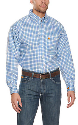 Wrangler 20X Men's Blue & White Check Print Long Sleeve FR Work Shirt
