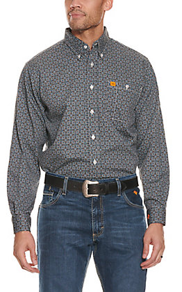Wrangler 20X Men's Grey with Blue Medallion Print Long Sleeve FR Work Shirt - Cavender's Exclusive