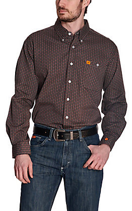 Wrangler 20X Men's Grey with Burgundy Diamond Print Long Sleeve FR Work Shirt - Cavender's Exclusive