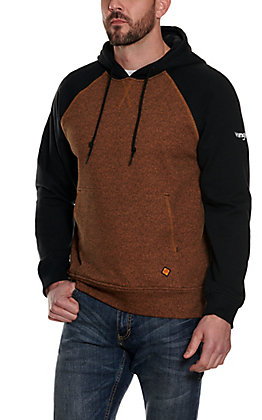Wrangler Men's Black and Brown Flame FR Flame Resistant Long Sleeve Pullover Hoodie