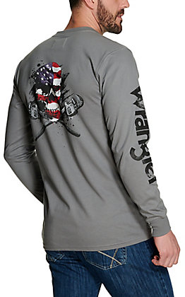 Wrangler Men's Grey Flag Skull Graphic Long Sleeve FR T-Shirt