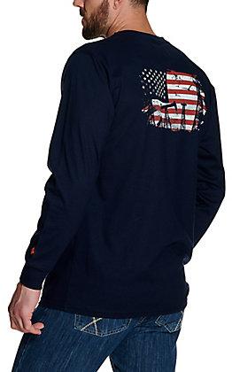 Wrangler Men's Navy American Flag Oil Graphic Long Sleeve FR T-Shirt