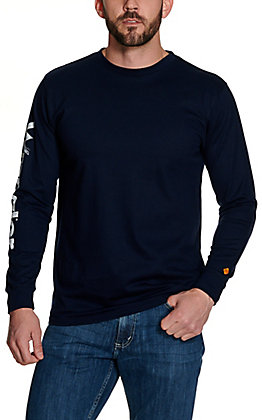 Wrangler Men's Navy Logo Long Sleeve FR T-Shirt