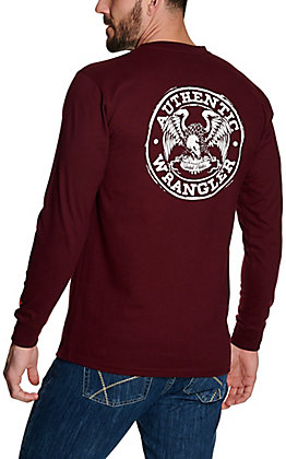 Wrangler Men's Burgundy Authentic Eagle Graphic Long Sleeve FR T-Shirt - Big & Tall