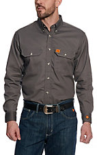 RIGGS by Wrangler Mens Grey Flame Resistant Work Shirt - Big