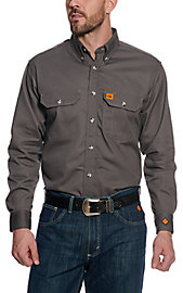 8b892106c9d2 RIGGS by Wrangler Mens Grey Flame Resistant Work Shirt - Big ...