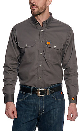 RIGGS by Wrangler Men's Grey FR Work Shirt - Big & Tall