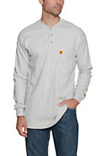 RIGGS by Wrangler Mens Grey Flame Resistant Long Sleeve Henley Shirt